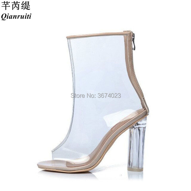8396d1158a Qianruiti Jelly Shoes PVC Ankle Boots Summer Clear Transparent Crystal High Heels  Peep/Pointed Toe Perspex Boots Beige Black