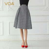 VOA черный женские серьги капельки юбка трапециевидной формы 100% шелк миди юбки для женщин для летние высокая талия jupe femme Винтаж корейский Ко
