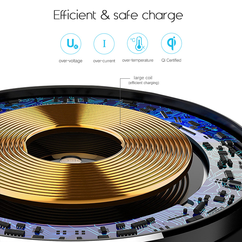 QI Wireless Charger, Efficient and Safe Charge
