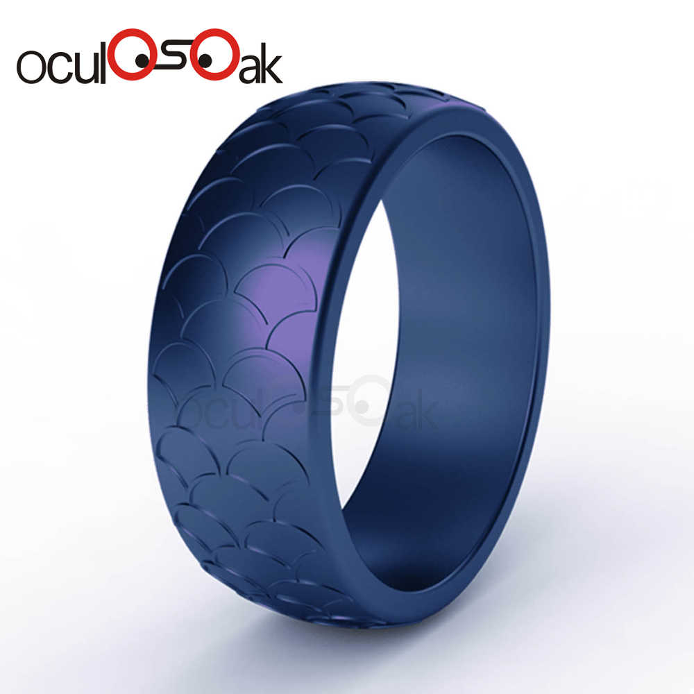 8.7mm Food Grade Fish scale Silicone Rings Hypoallergenic Flexible Sports Antibacterial Finger Rings Rubber Wedding Ring For Men