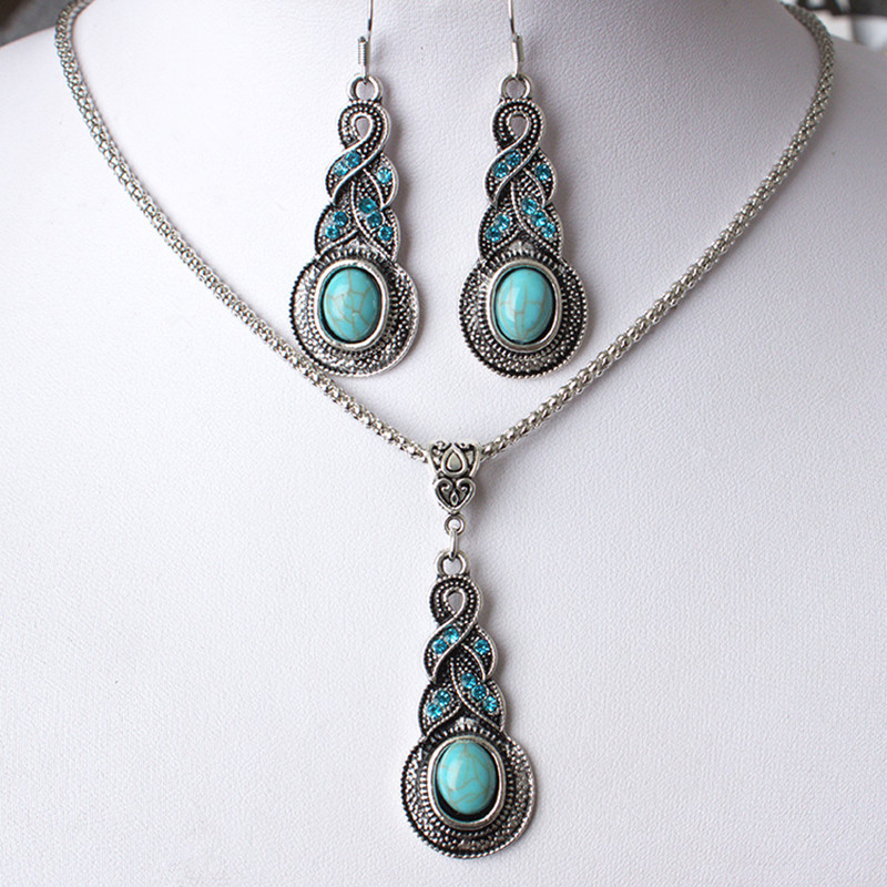 Sale Europe The United States Retro Water Drop Jewelry Sets Vintage Pattern Blue Crystal Necklace Earrings Set