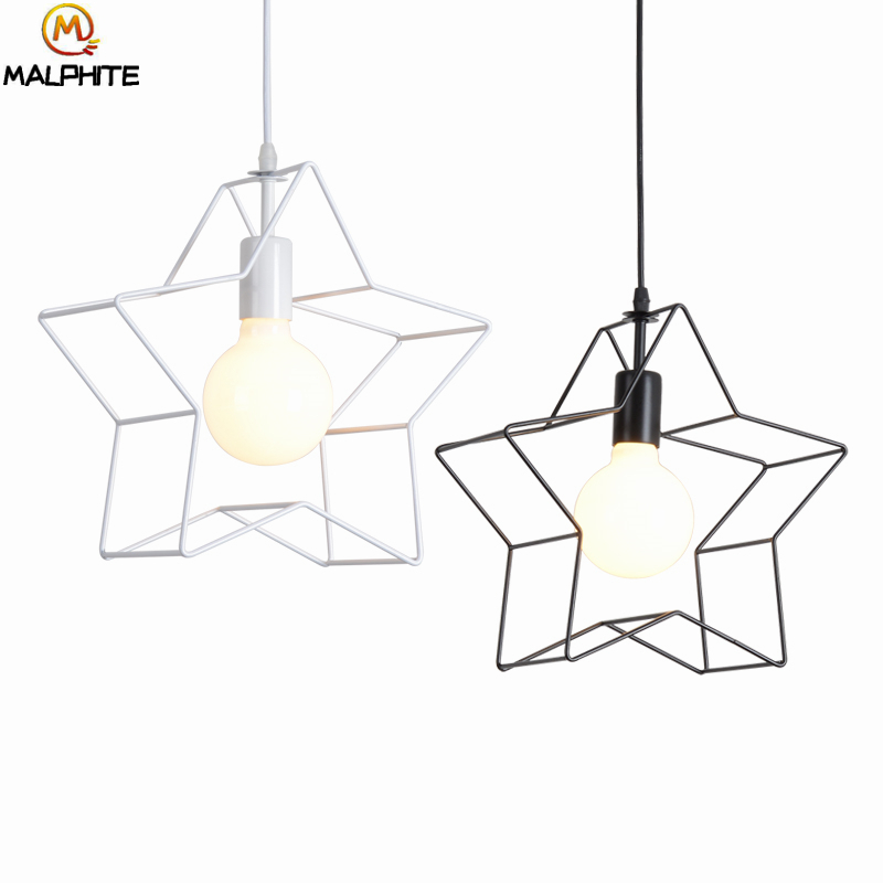 Modern iron Pentagram pendant light children room deco pendant lamp luminaire retro cafe bar Industrial decor lighting fixturesModern iron Pentagram pendant light children room deco pendant lamp luminaire retro cafe bar Industrial decor lighting fixtures