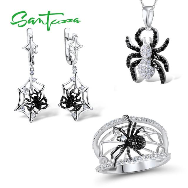 SANTUZZA Conjunto de joyería para mujer, conjunto de pendientes y anillo de araña negra, de Plata de Ley 925 pura, joyería