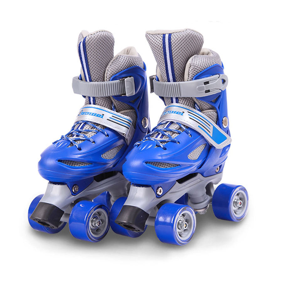 Japy Kid's Roller Skates Size Adjustable Double Line Skates For Children Two Line Skating Shoes Patines With PVC 4 Wheels