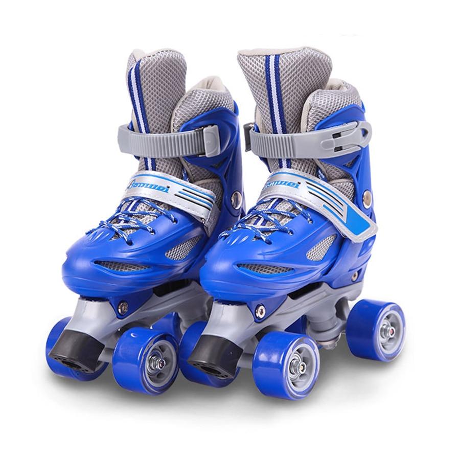Japy enfants Patins à roulettes Taille Réglable Double Patins à Roues Alignées Pour Enfants Deux Patin à roues Alignées Chaussures Patines Avec PVC 4 roues