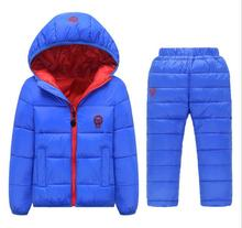 HOT Hoodies Down Jacket +Trousers Waterproof Snow Warm kids Clothes Children Boys girls Clothing 2-8 year Children's Clothes Set