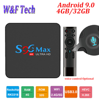 Android 9.0 Smart TV BOX 4GB 32GB S96 MAX Set Top Box RK3318 2.4G/5G Dual WIFI BT4.1 4K media player TV Receiver PK X96