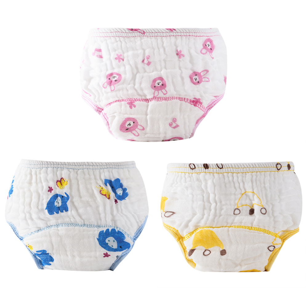 Newborn Reusable Diapers Baby Washed Gauze Anti-side Leakage Cloth Diaper Baby Cartoon Printing Nappies Training Panties