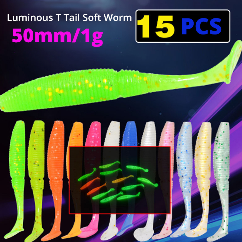 Jig-Head Paddle Tail T-Tail-Lure Bass Fishing Soft-Grubs-1g Glow-In-Dark Luminous 50mm