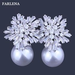 FARLENA Jewelry Snowflake Zircon Stud Earrings Fashion Double Simulated Pearl Earrings for Women Gift