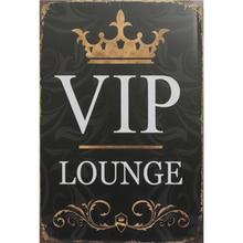 VIP LOUNGE Shabby Chic Metal signos Pub Bar restaurante casa decoración pared artística pegatinas Vintage de Metal Placa de pintura