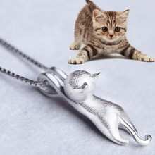 KUNIU New Lovely Fashion Women Silver Plated Cat Pendants Kitty Necklace Jewelry Gift 2017