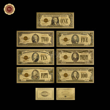 Американская оригинальная цветная позолоченная банкнота 24 карата, поддельные долларовые деньги в качестве сувенирного подарка