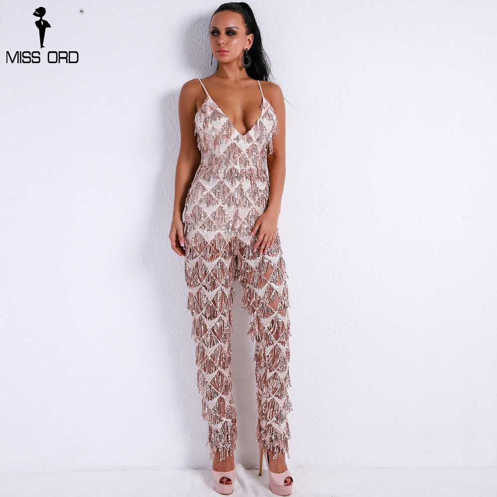 ee123fbe7bf Missord 2019 Sexy V Neck Harness Sequin Overalls Backless Tassel ...