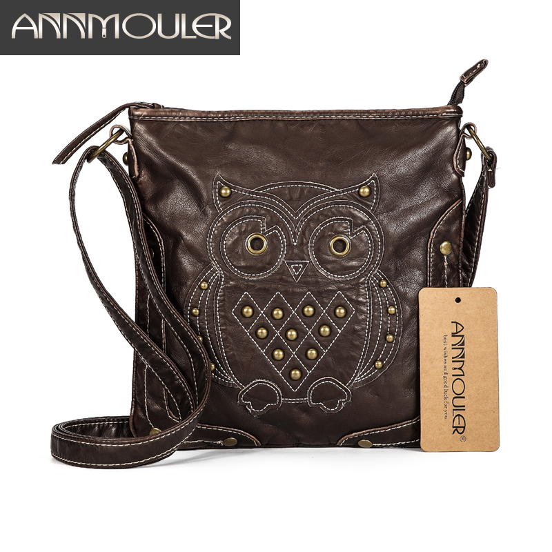 Annmouler Brand Women Shoulder Bag Soft Pu Leather Crossbody Bag Cartoon Owl Patchwork Messenger Bag Ladies Grey Small Bags fashion brand genuine leather women messenger bag patchwork plaid chain shoulder bag small ladies crossbody bag
