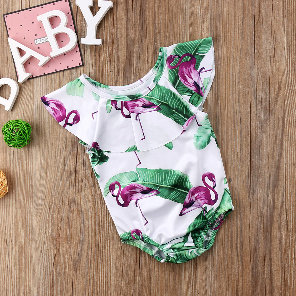 Летний детский купальник для девочки дети Фламинго цветочный принт цельный бикини с рюшами Детские бикини милый купальник для младенцев 14
