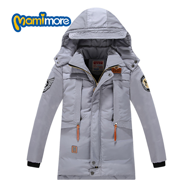 Mamimore Long Letter Print Down Jacket Cotton Warm Kids Clothing Boys Zipper Hooded Children Clothing Coat Outerwear