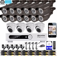 Eyedea 16 CH Phone View DVR 1080P White 12 Bullet 4 Dome Outdoor Night Vision CCTV Security Camera Video Surveillance System 4TB