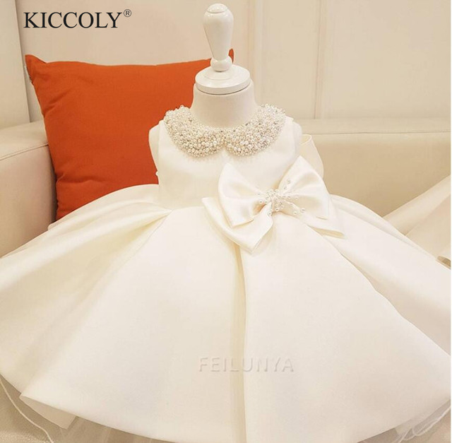 Одежда для новорожденных девочек бусины лук тюль новорожденных платье для крещения для маленьких девочек вечерние принцесса Крещение платья 1 праздничная одежда