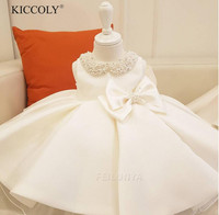 Infant Girl Clothes Beads Bow Tulle Newborn Baptism Dress Baby Girls Party Princess Christening Dresses 1 Year Birthday Outfits