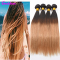 Ombre Brazilian Virgin Hair Straight 4 Pcs Lot T1B/27 Two Tone Ombre Brazilian Hair Weave Bundles 7A Unprocessed Ombre HumanHair