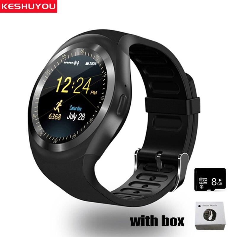 KESHUYOU Y1 relojes inteligentes hombres teléfono Smartwatch IOS tipo en la muñeca Bluetooth reloj inteligente tarjeta sim smartphone Red 2G