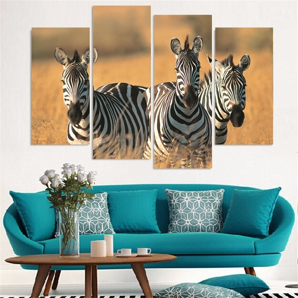 Online coloring room - Black And White Color Africa Zebra Picture Wall Painting Art For Living Room Decoration Print Oil