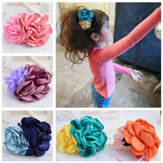 Colorful flowers children kids baby girls hair accessories hair bands headwear Boutique hair rope P1015 pretty girls boutique shining glitter bow hair bands for dance party children toddler hair accessories
