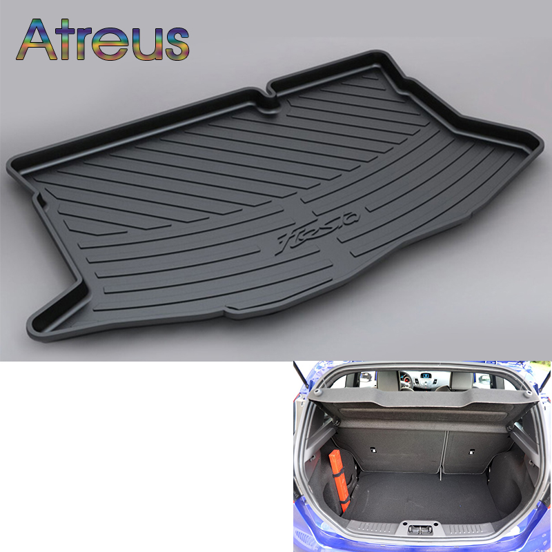 Atreus Car Rear Trunk Floor Mat Durable Carpet For Ford Fiesta MK7 Hatchback 2009-2017 Boot Liner Tray Waterproof Anti-slip mat trunk mat for ford mondeo 2008 2014 durable waterproof luggage mats tray for dogs