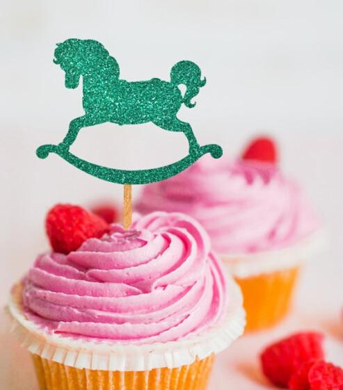 Iglitter ROCKING HORSE BABY SHOWER Cupcake Appetizer toppers Bachelorette birthday Wedding