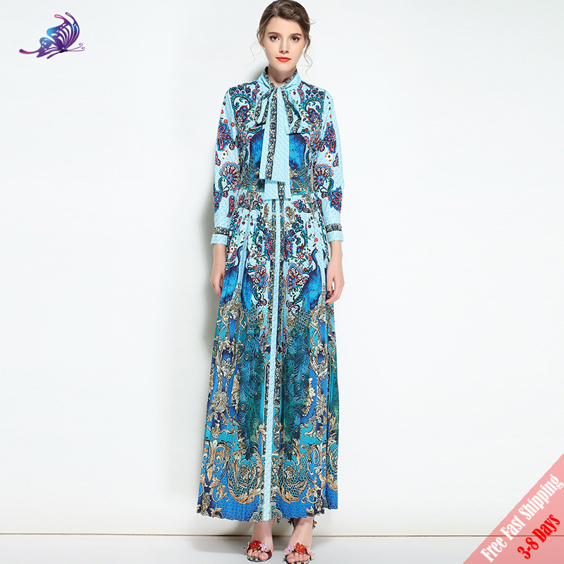 High Quality Runway Designer Maxi Dress Women's Vintage Pattern Peacock Printed Bow Collar Long Pleated Party Dress 2019