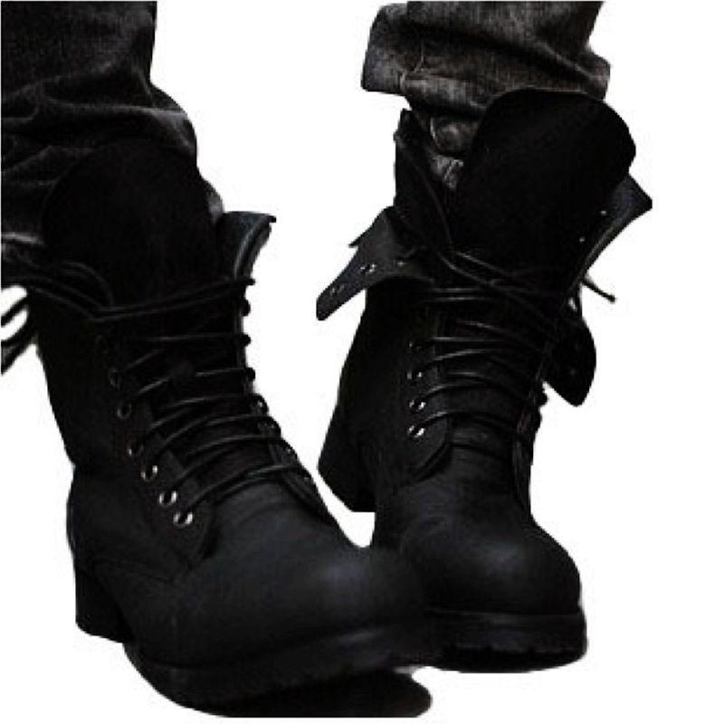 Primavera Ocio Aire Bajo Hasta Motocicleta Hombres Al Encaje Redonda Martin Tobillo Negro Otoño Punk Botas marrón Zapatos Sólido Libre Moda Punta Ocasional vUgWwdnqg4