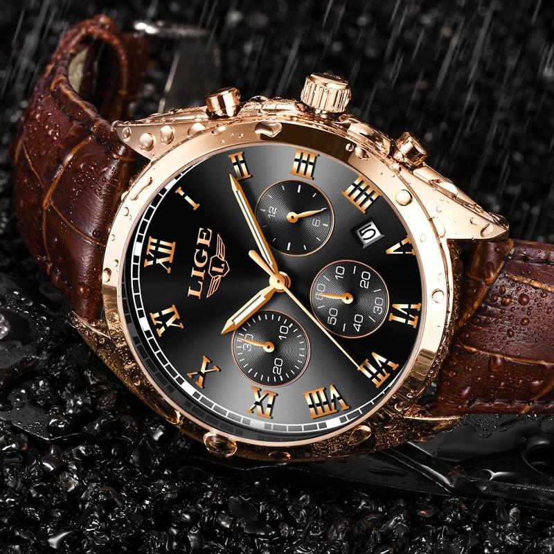 LIGE Chronograph Men Watch Relogio Masculino Brown Leather Business Quartz Watch Clock Men Creative Army Military Wrist Watches