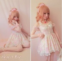 Princess sweet lolita dress BOBON21 exclusive original cherry pink full lace front short back long off shoulder neck dress D1011