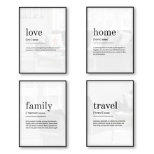 Love Home Family Travel Definition Print Poster Wall Art Canvas Quotes Minimalist Picture Decor Black White