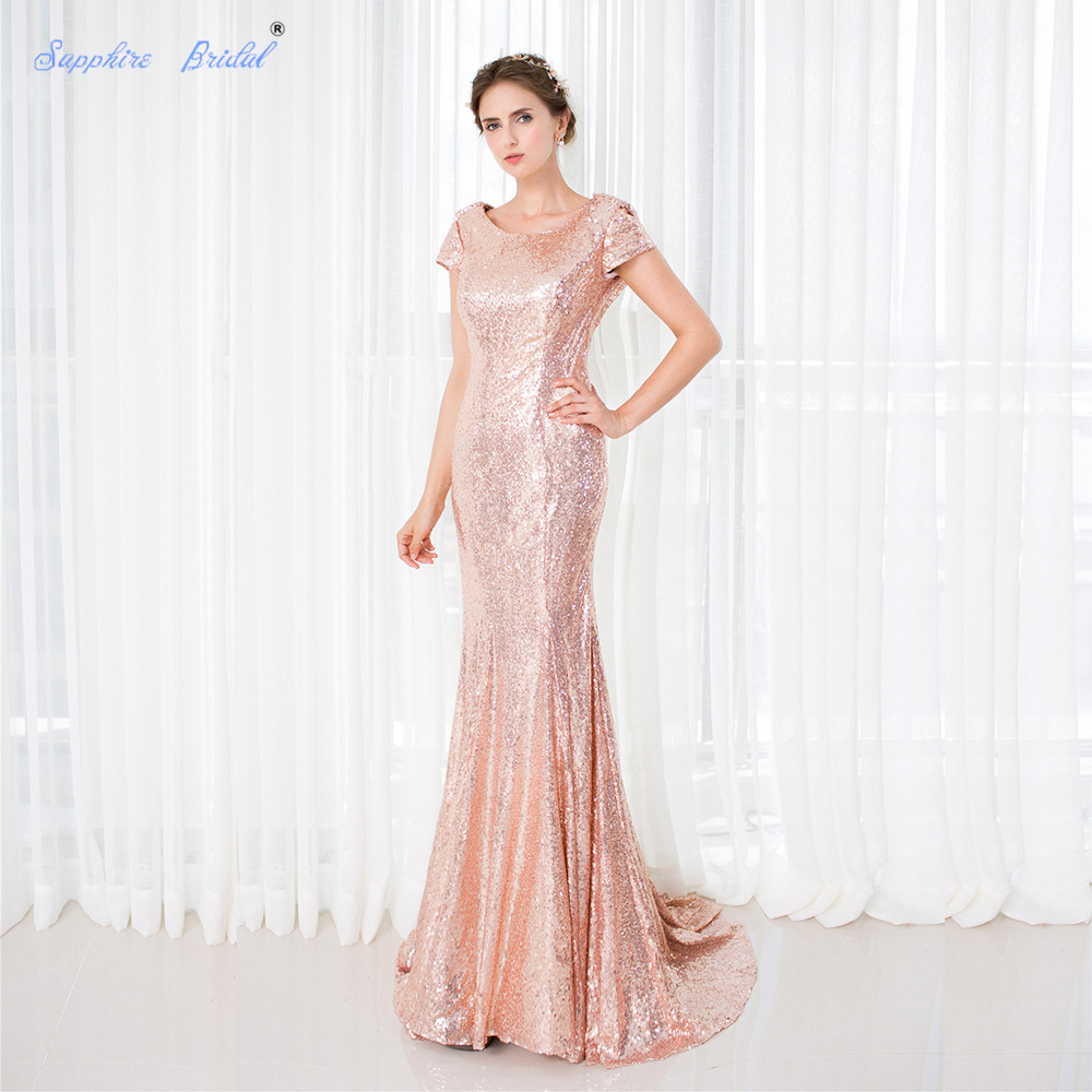 Sapphire Bridal Rose Gold Mermaid Formal Party Gowns Sexy Long Backless   Bridesmaid     Dress