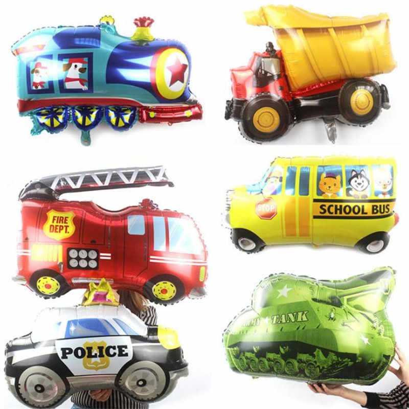 Foil Balloons Tanks Police cars Fire engines Ambulances School buses Trains Foil Helium Balloon Diy Baby Shower Birthday Party