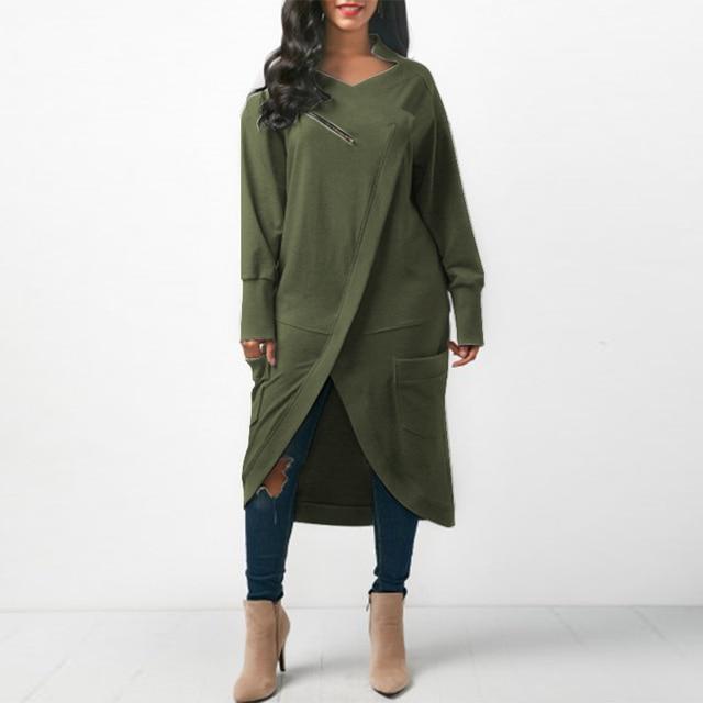 US $12.95 40% OFF|ZANZEA Women Sweatshirt Dress 2018 Autumn V Neck Long  Sleeve Irregular Hem Solid Long Vestido Winter Fleece Pullover Plus Size-in  ...