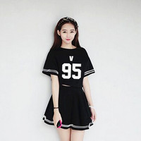 BTS KPOP Bangtan Boys Dress Child Periphery Piece Women 2016 New Sale Cotton White And Black