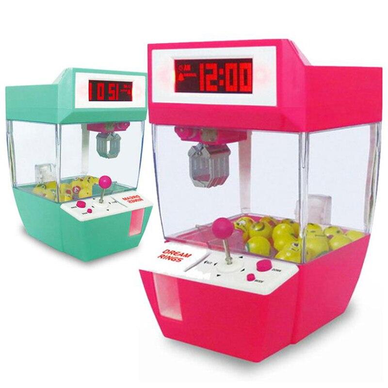 Mini garra de brinquedo para crianças, boneco engraçado, jogos operados com moedas, mini garra, máquina de pendurar, alarme para doces, jogo