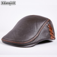 XdanqinX Men's Genuine Leather Caps Winter Warm Cowhide Leather Berets For Men Personality Hip hop Trend Brand Male Bone Cap