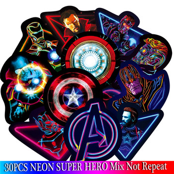 30PCS Neon Super hero Stickers Set For Children Luggage Skateboard Motorcycle Bicycle Fridge Laptop Cute Cartoon Sticker Собака