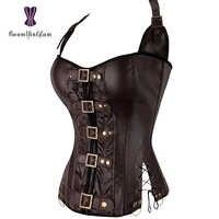 Negro/marrón Adelgazante Body Shapewear mujer Punk Rock hebilla de cuero artificial-up Halter corsé Bustier Basque con G-string 901 #