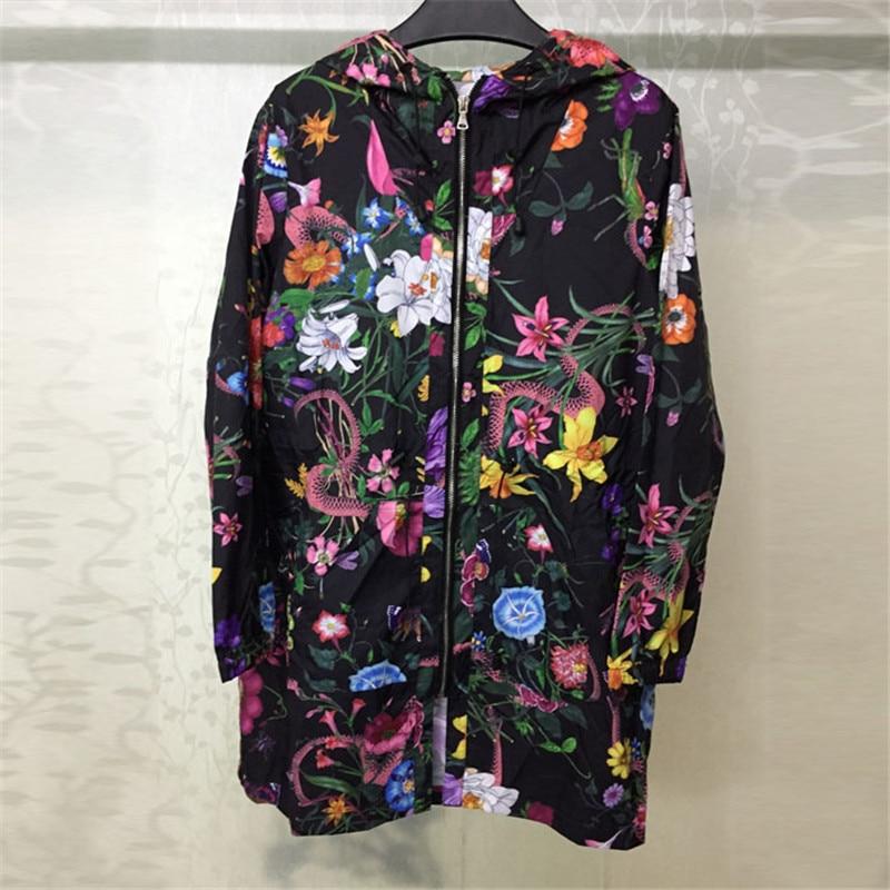 Chaqueta de moda para mujer de manga larga con sombrero de estilo suelto mujer elegante estampado abrigo 2018 nueva chaqueta de mujer-in chaquetas básicas from Ropa de mujer    1