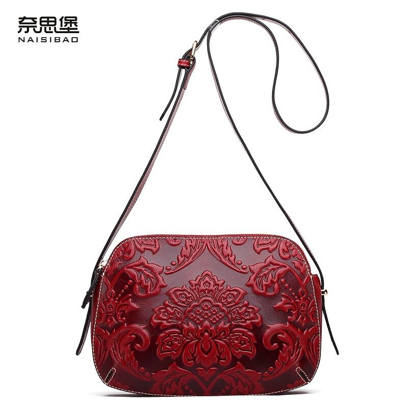 Genuine leather bag free delivery Women bag New of Oracle embossed small side bag Hugh leisure fashion shoulder Messenger Bag