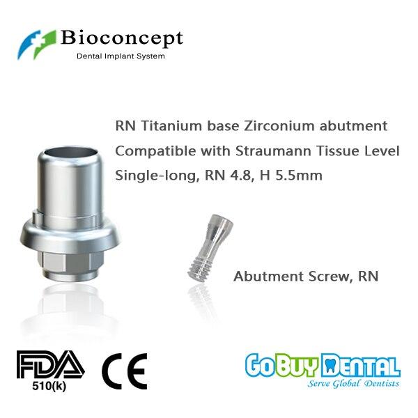 CAD/CAM Ti-Base for Straumann Tissue Level RN, Crown, lLong, H5.5mm