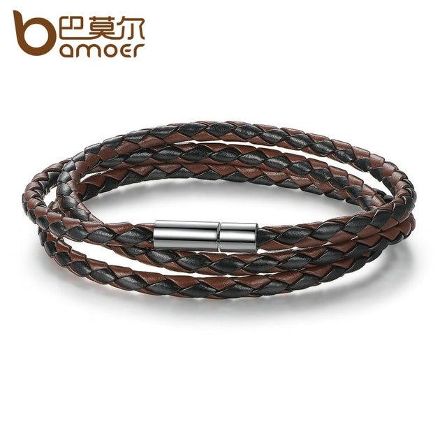 Bamoer Whole Fashion Men Leather Bracelet 100 Brand New Trendy Bracelets With Magnet Clasp