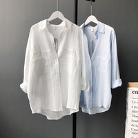 Spring Korean Style Women White Shirt Turn Down Collar Wrinkle Cotton Vintage Casual Blue Blouse And