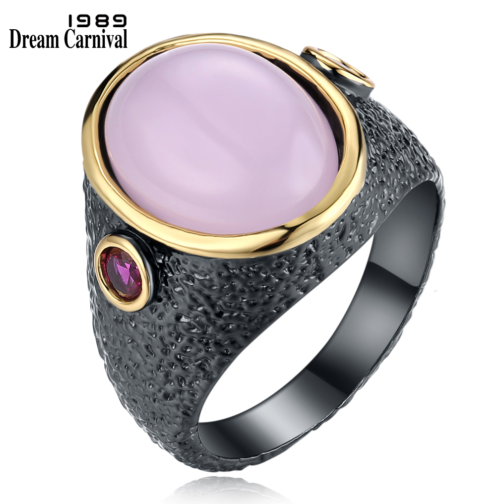DreamCarnival 1989 Unique Fuchsia CZ Rings for Women Pink Stone Anniversary Party Jewelry Vintage Black Gold Color Bague WA11485 fashion party jewelry rings for women gold color cz snake dames ringen design christmas gift bague femme open rings ka0167