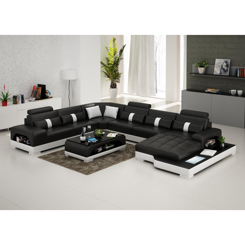 Living Room Furniture Black U-shape Living Room Furniture Sectional Sofa Set G8007 Fancy Colours Living Room Sofas